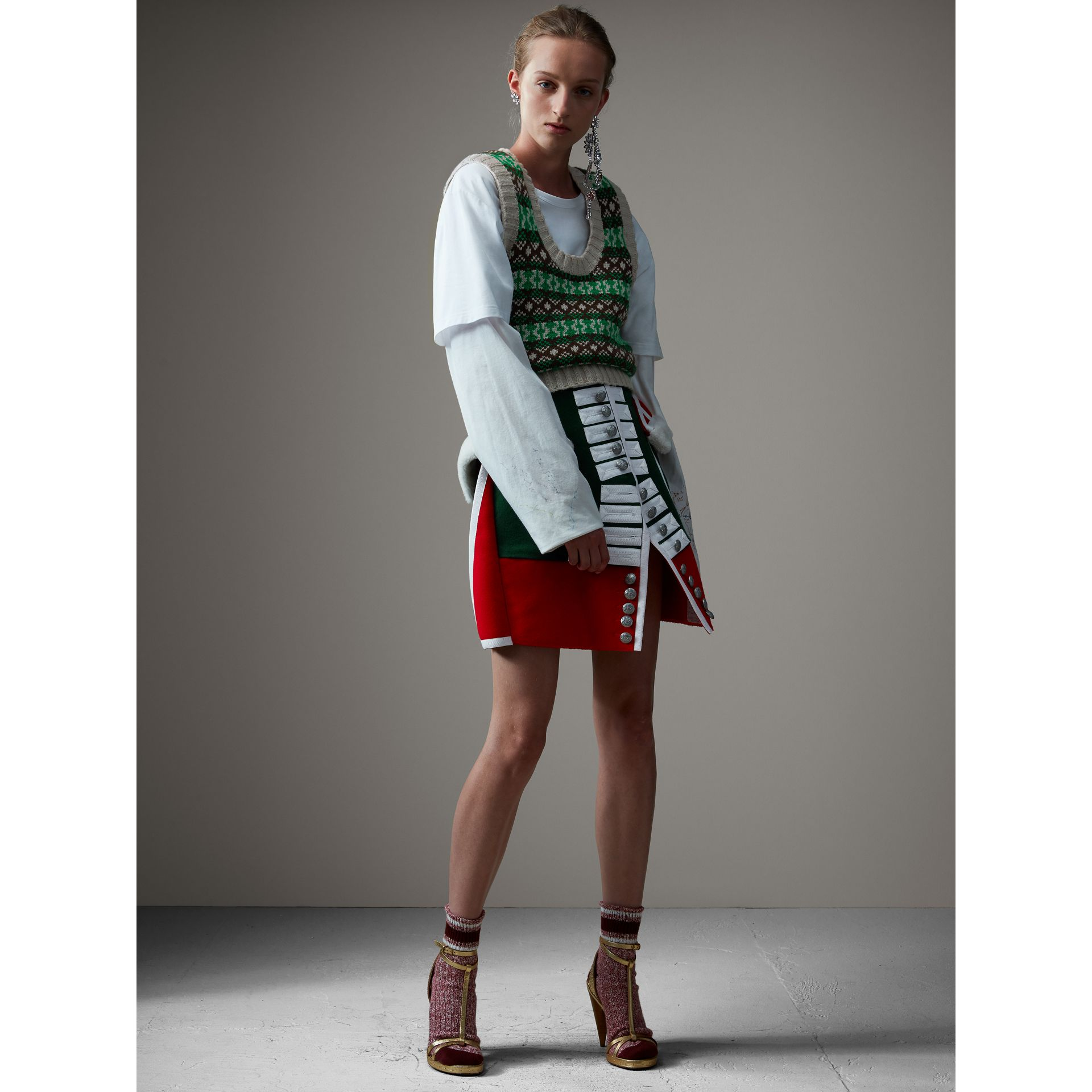 Shearling Trim Wool Ceremonial Skirt in Bottle Green - Women | Burberry - gallery image 0