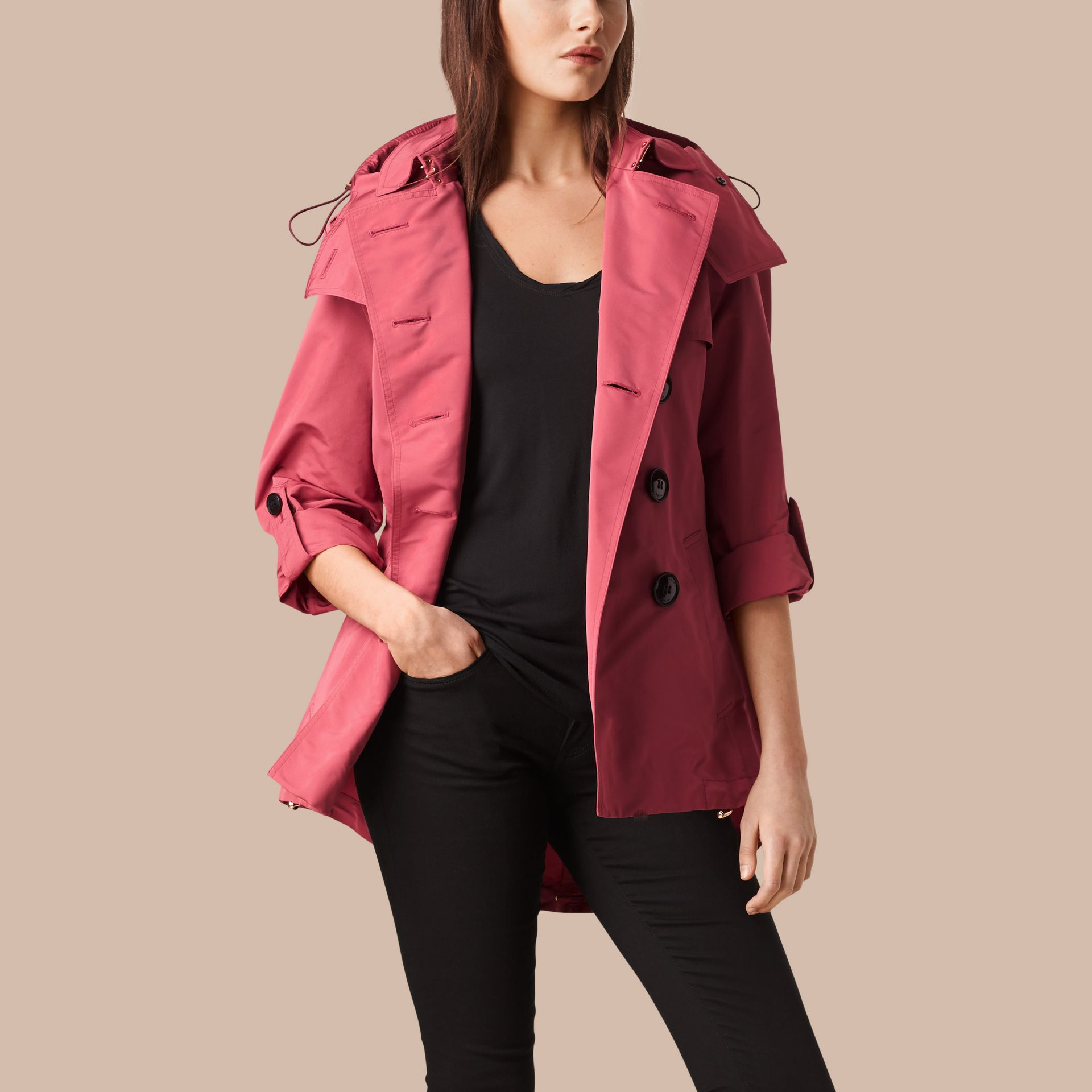 Bright copper pink Showerproof Trench Coat with Detachable Hood Bright Copper Pink - gallery image 1