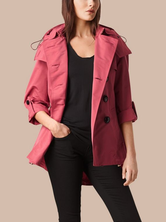 Showerproof Trench Coat with Detachable Hood Bright Copper Pink