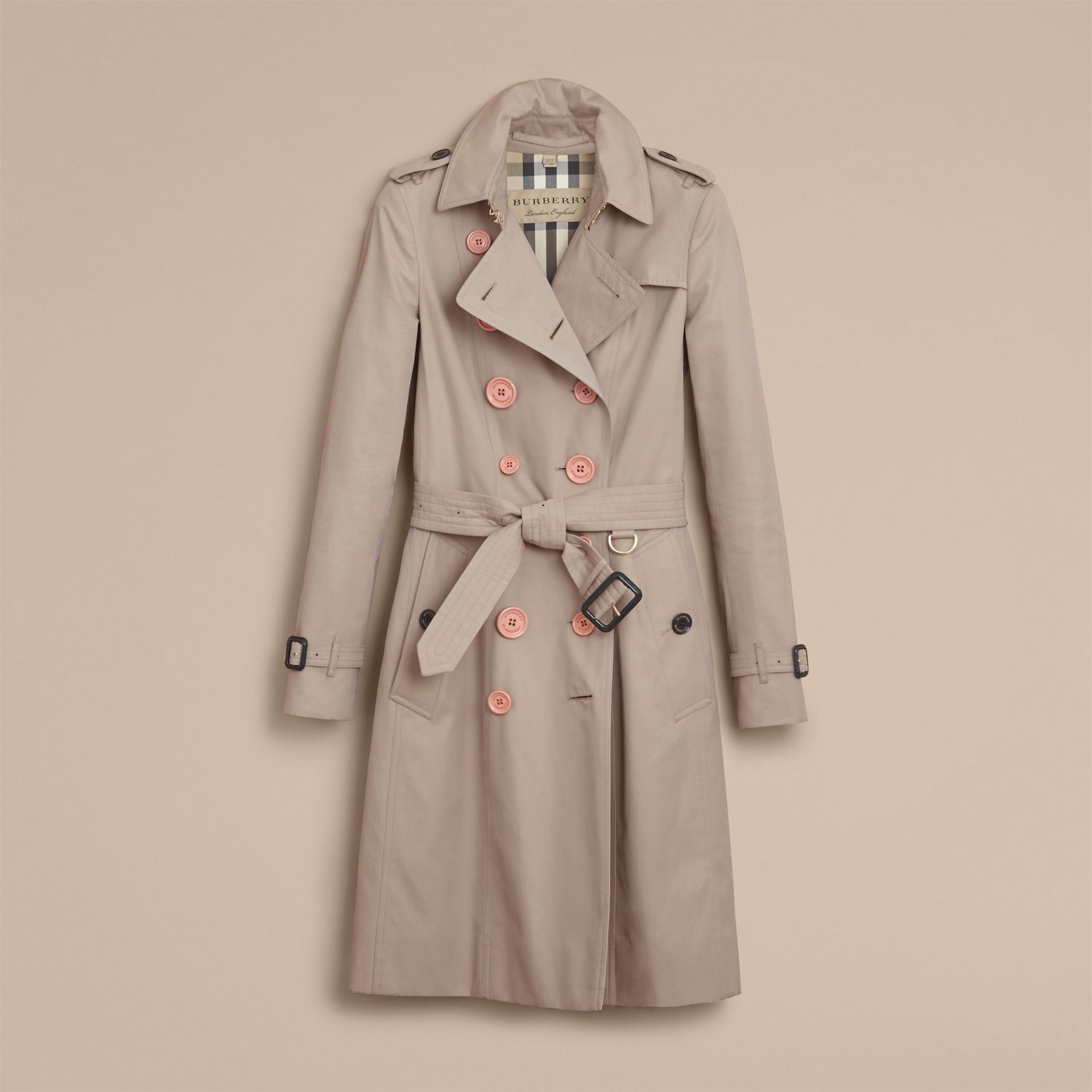 Resin Button Cotton Gabardine Trench Coat - gallery image 4