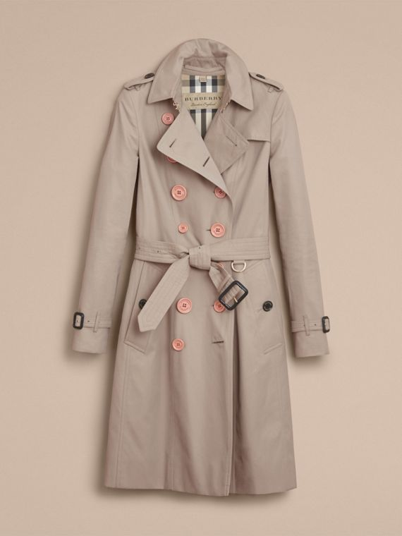 Resin Button Cotton Gabardine Trench Coat - cell image 3