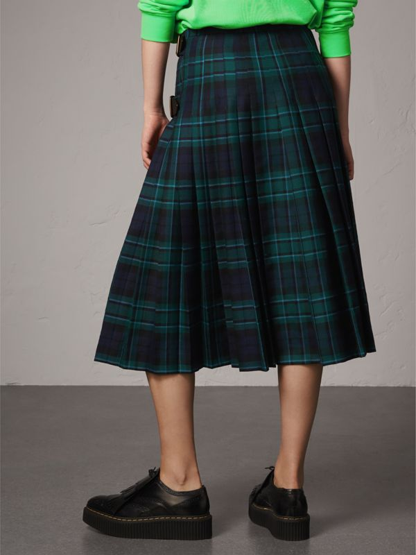 Tartan Wool Kilt in Pine Green - Women | Burberry - cell image 2