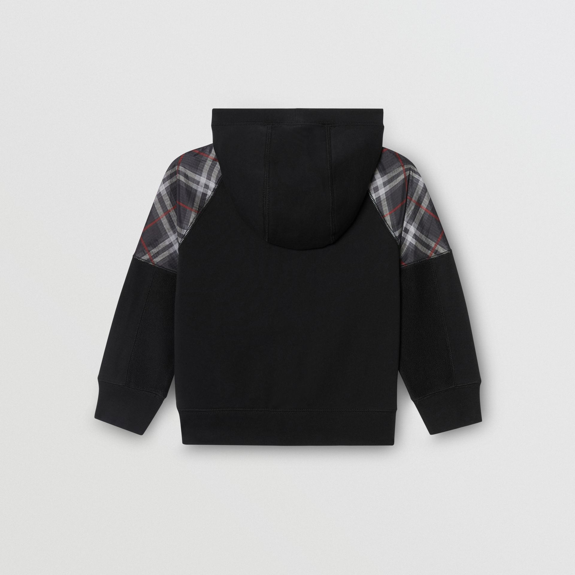 Vintage Check Panel Cotton Hooded Top in Black | Burberry - gallery image 3