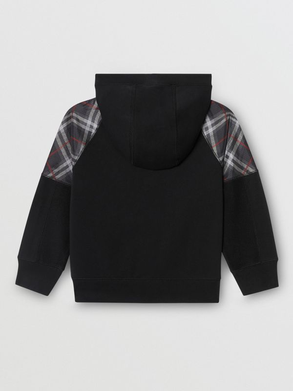 Vintage Check Panel Cotton Hooded Top in Black | Burberry - cell image 3