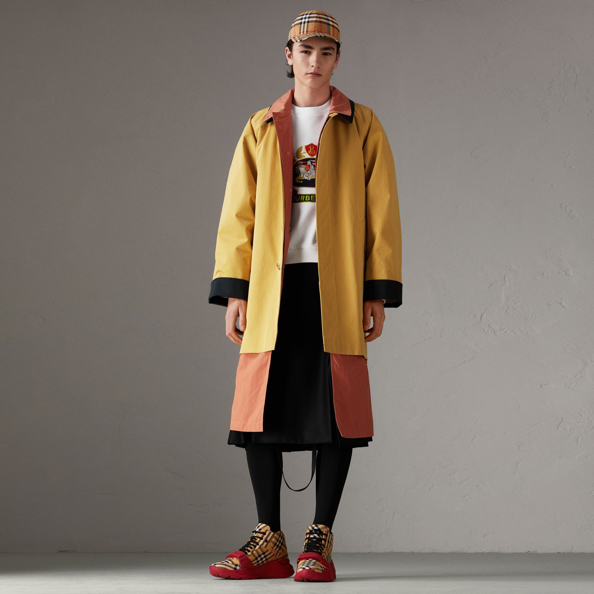 Reissued Waxed Cotton Gabardine Car Coat in Yellow - Men | Burberry Hong Kong - gallery image 0