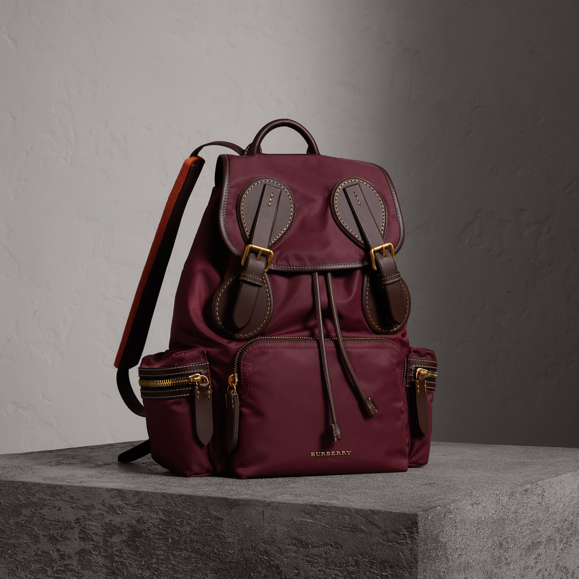 The Large Rucksack in Technical Nylon and Topstitched Leather in Burgundy Red - Men | Burberry - gallery image 0