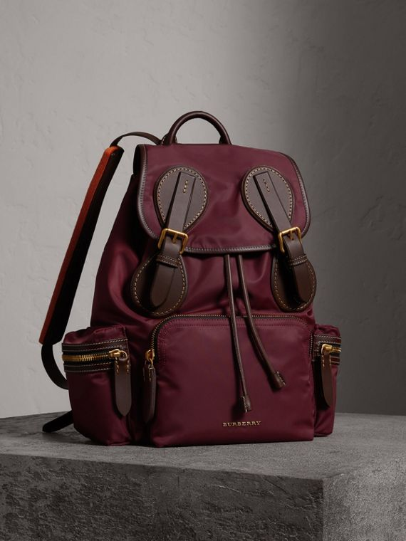 The Large Rucksack in Technical Nylon and Topstitched Leather in Burgundy Red