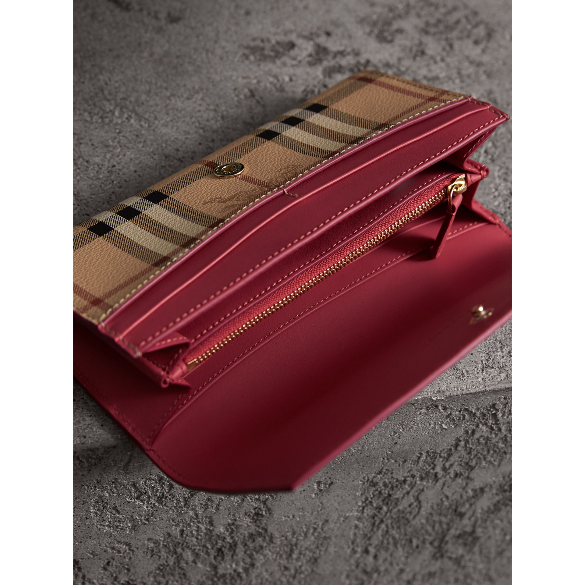 Haymarket Check and Leather Continental Wallet in Plum Pink - Women | Burberry - gallery image 3