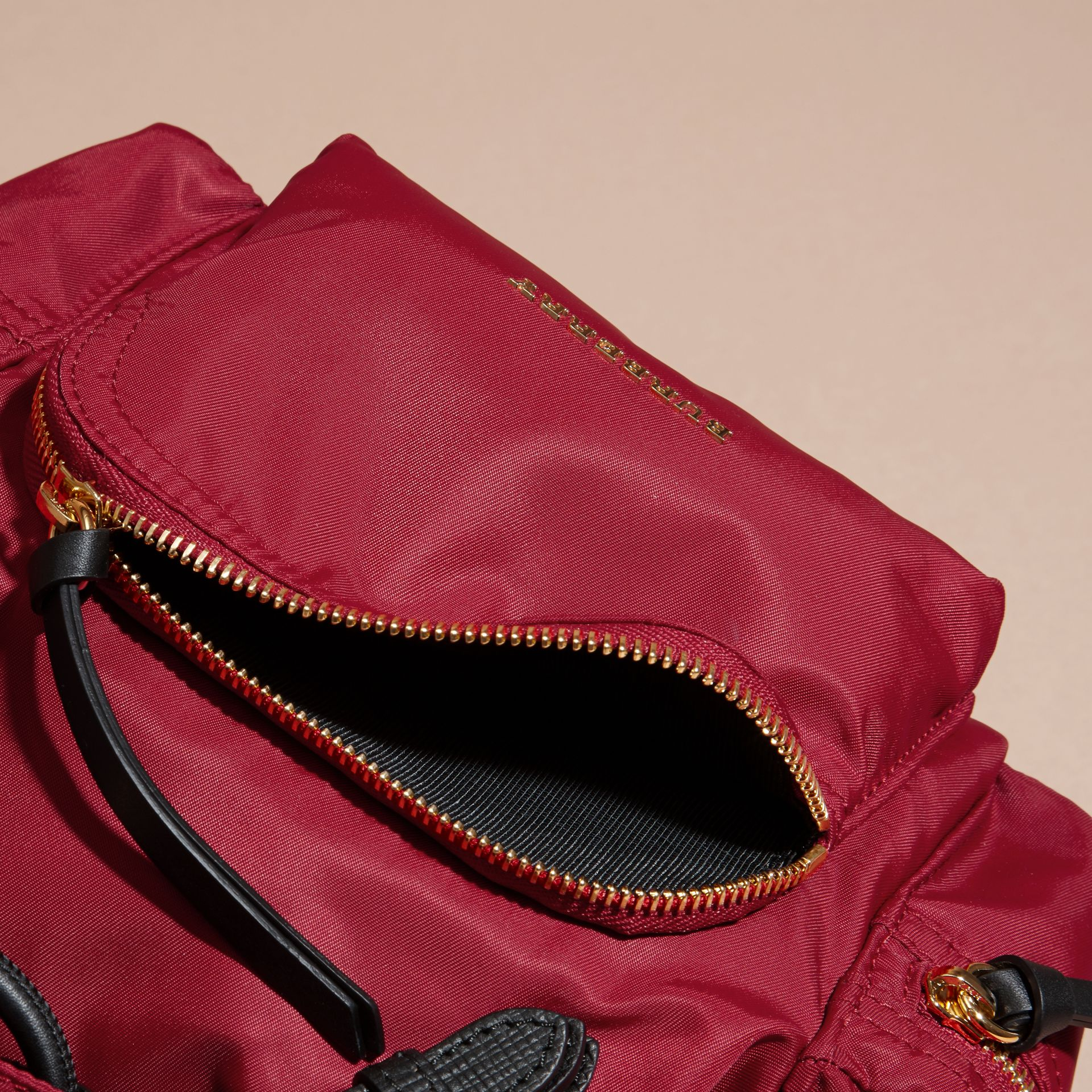 The Small Rucksack in Technical Nylon and Leather Parade Red - gallery image 5