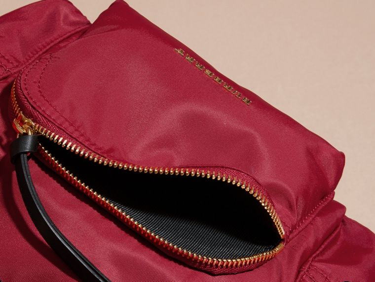 The Small Rucksack in Technical Nylon and Leather in Parade Red - Women | Burberry - cell image 4