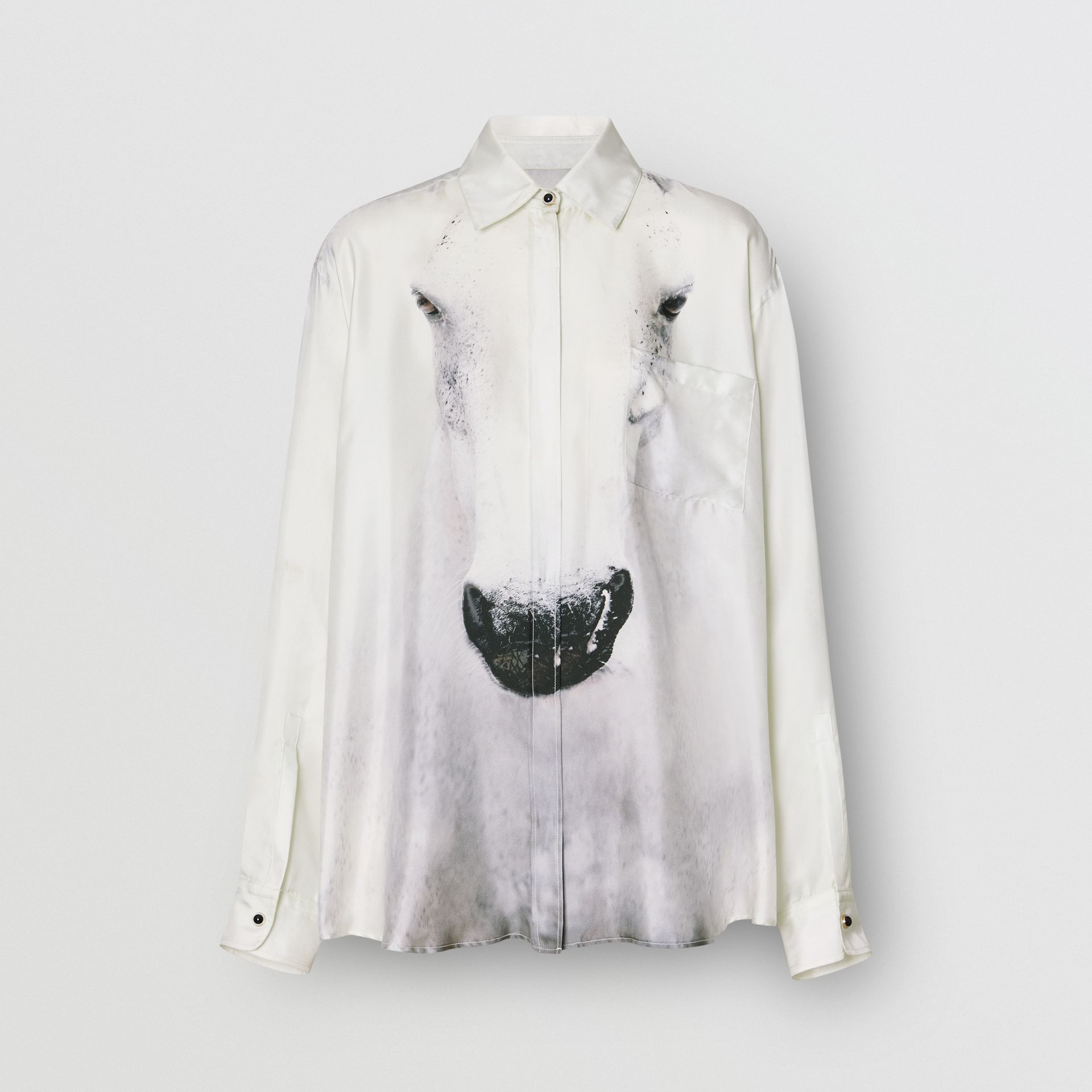 Unicorn Print Silk Oversized Shirt in Light Grey - Women | Burberry - gallery image 3