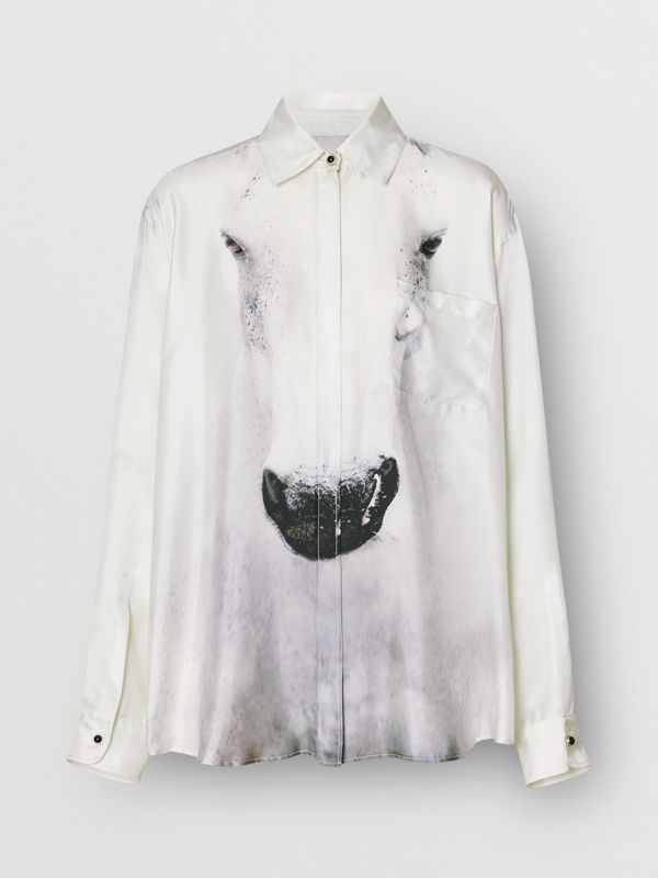 Unicorn Print Silk Oversized Shirt in Light Grey - Women | Burberry - cell image 3