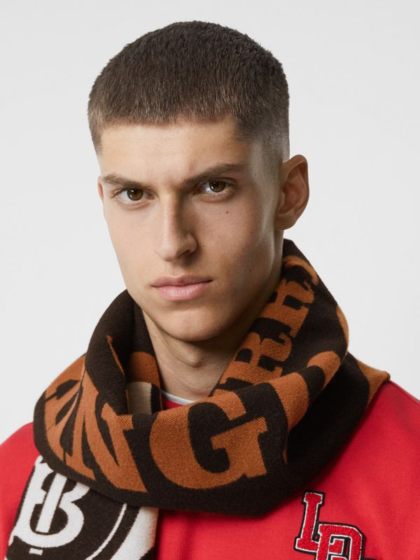 Contrast Logo Graphic Wool Silk Scarf in Dark Chestnut Brown | Burberry - cell image 3