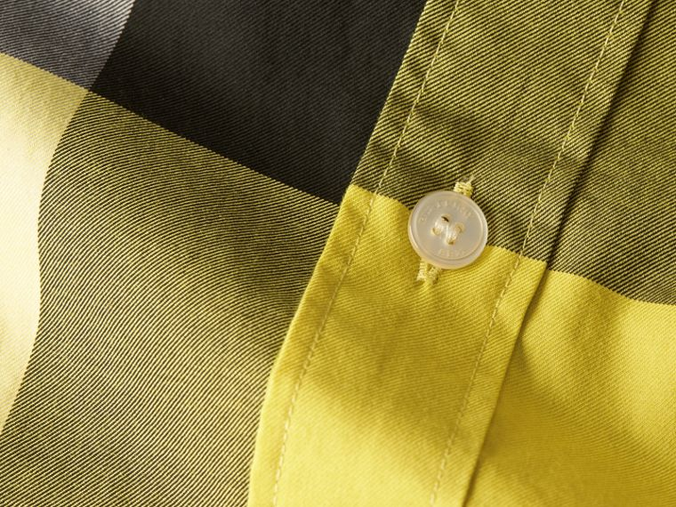 Pale yellow Short-sleeved Check Cotton Shirt Pale Yellow - cell image 1