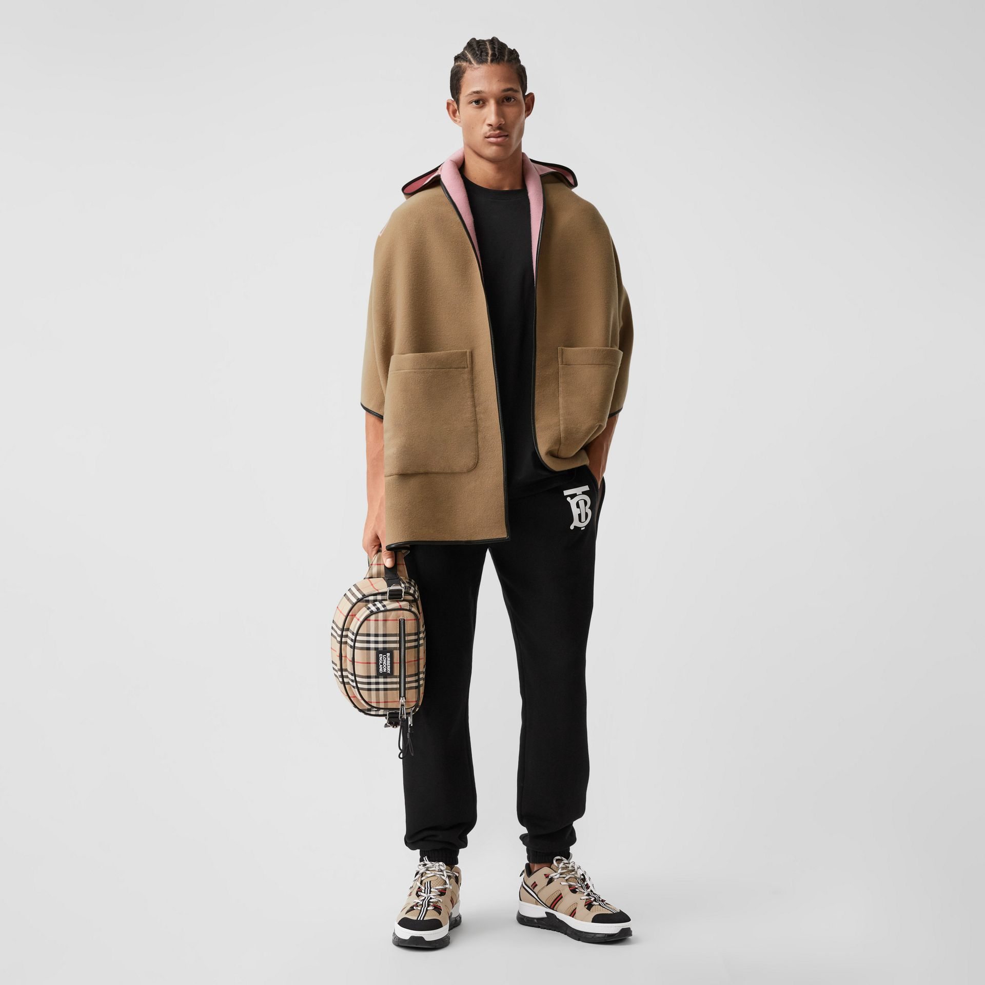 Logo Graphic Wool Cotton Jacquard Hooded Cape in Archive Beige | Burberry - gallery image 0