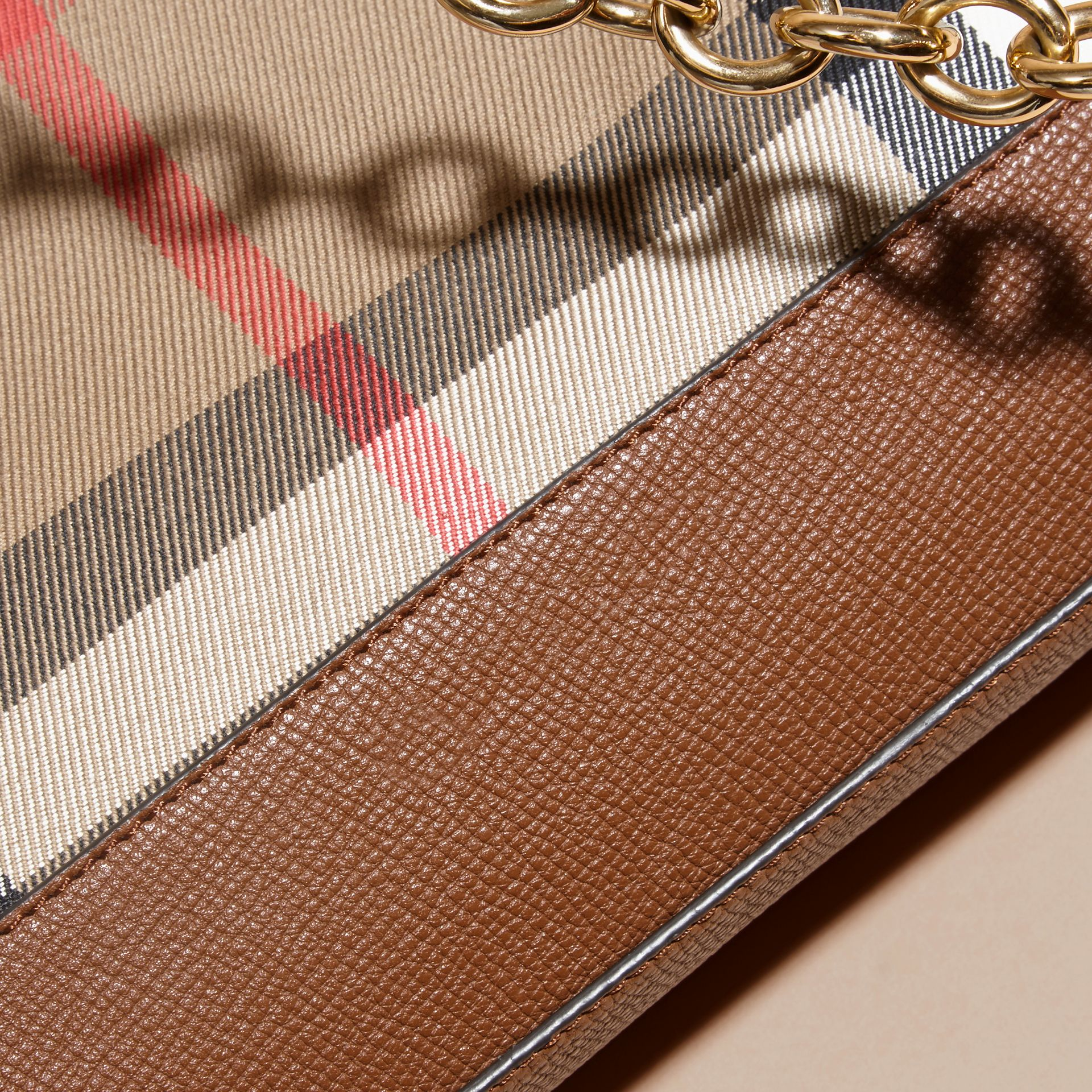 House Check and Leather Clutch Bag in Tan - Women | Burberry - gallery image 2