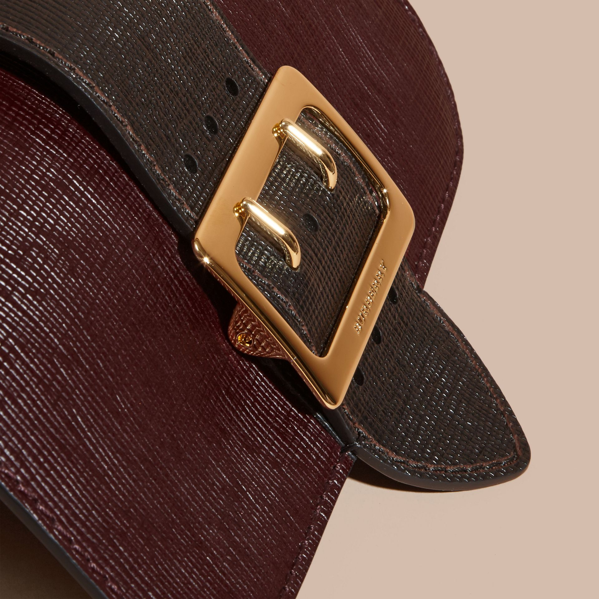 The Medium Buckle Bag in House Check and Textured Leather in Burgundy/black - gallery image 2