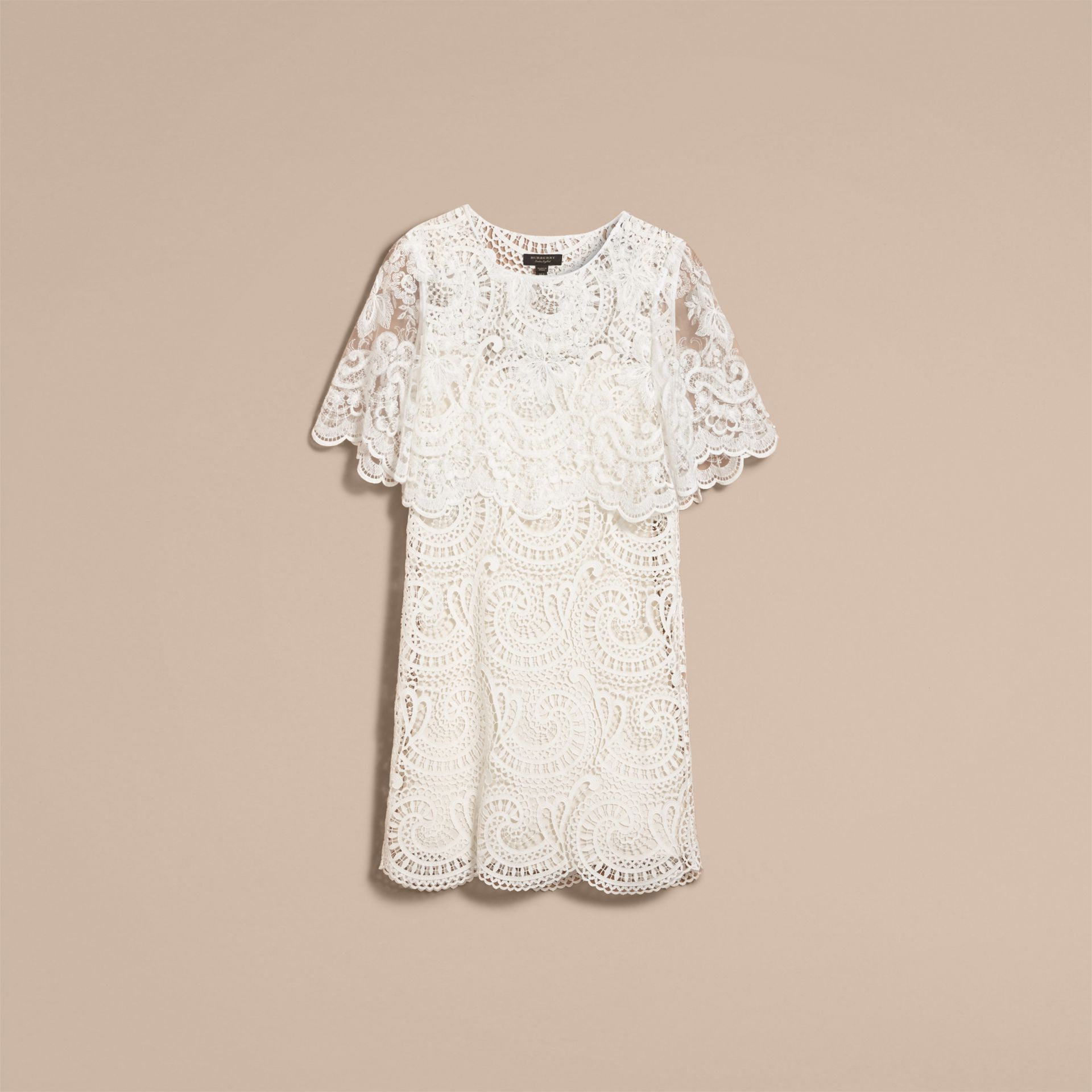 Layered Macramé Lace Shift Dress - Women | Burberry - gallery image 4