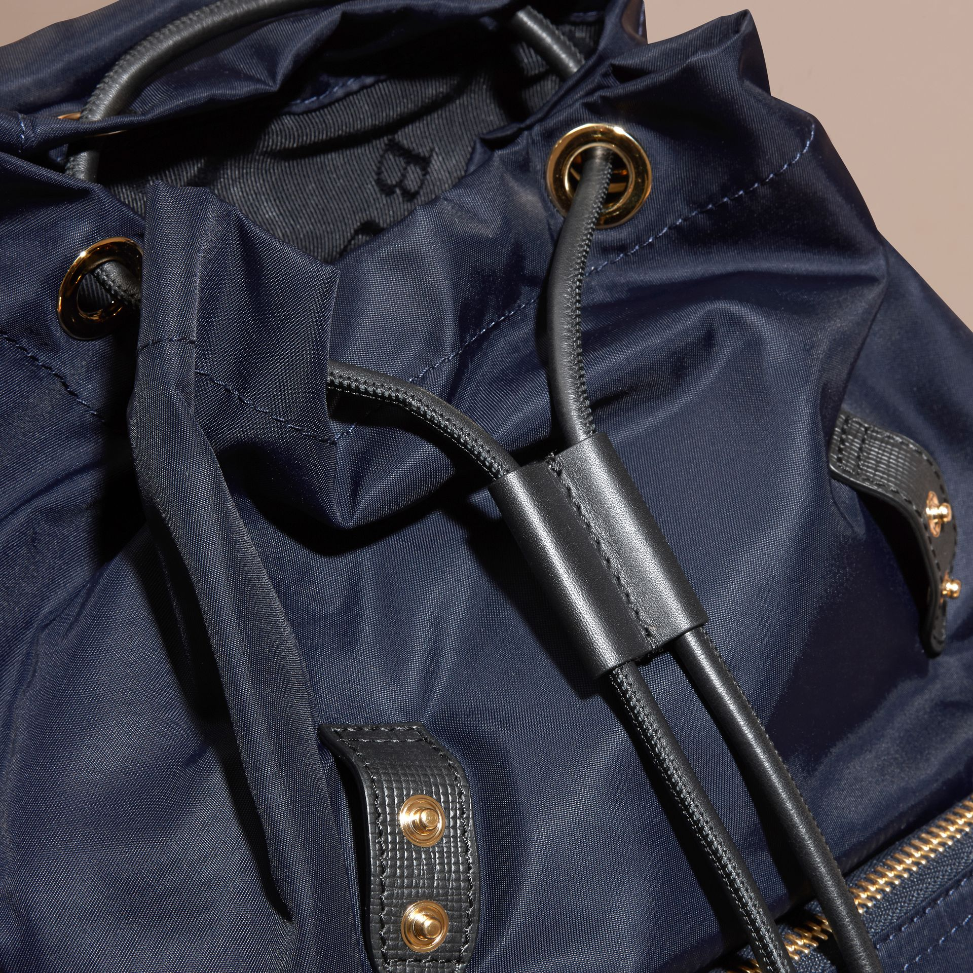 The Medium Rucksack in Technical Nylon and Leather in Ink Blue - gallery image 5