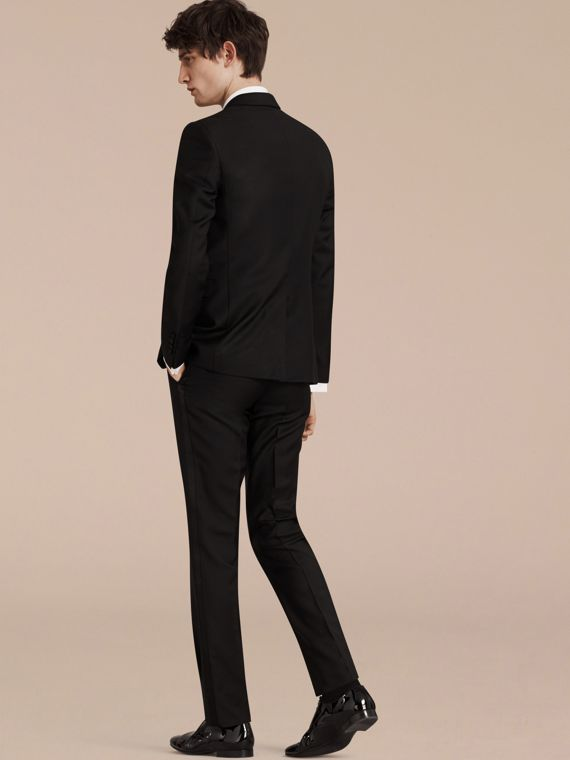 Black Slim Fit Wool Mohair Half-canvas Tuxedo - cell image 2