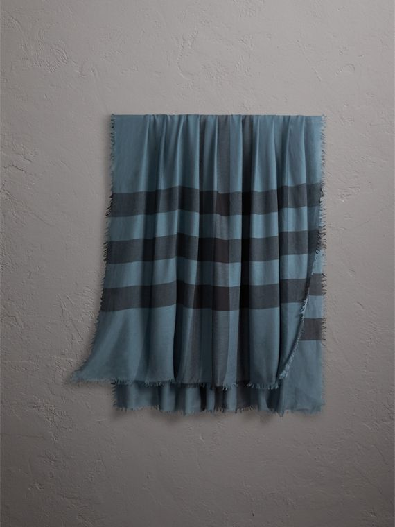 Check Modal Wool Scarf in Dusty Blue