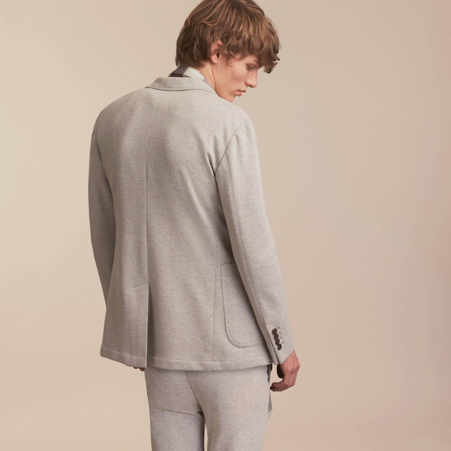 Herringbone Cotton Blend Jersey Blazer - gallery image 3