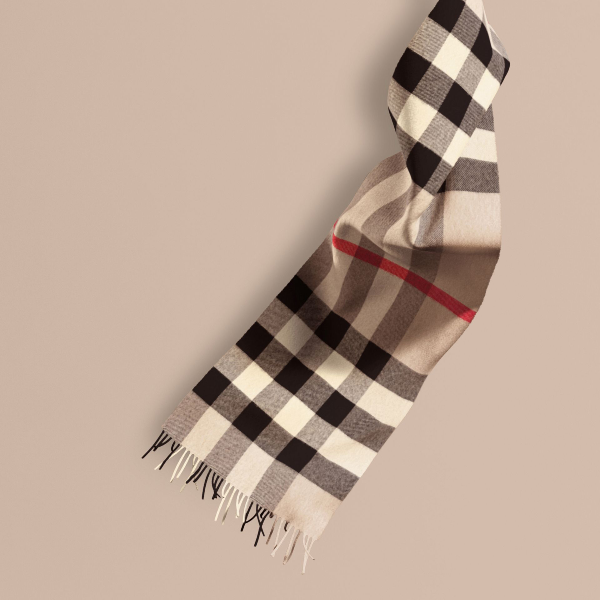 The Large Classic Cashmere Scarf in Check Stone - gallery image 1