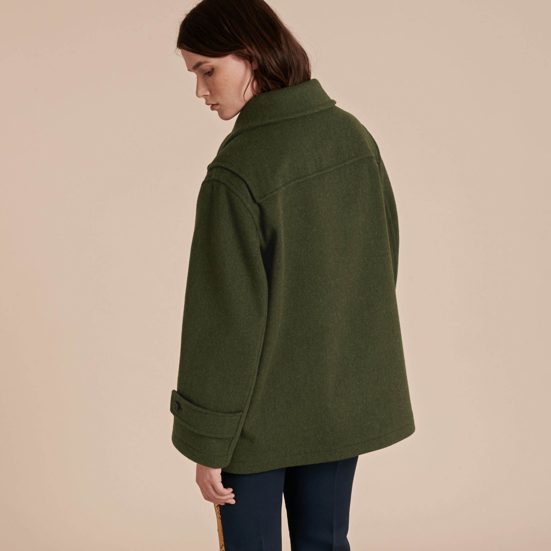 Moss green Military Wool Duffle Coat - gallery image 3