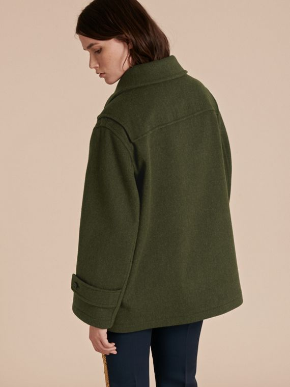 Moss green Military Wool Duffle Coat - cell image 2