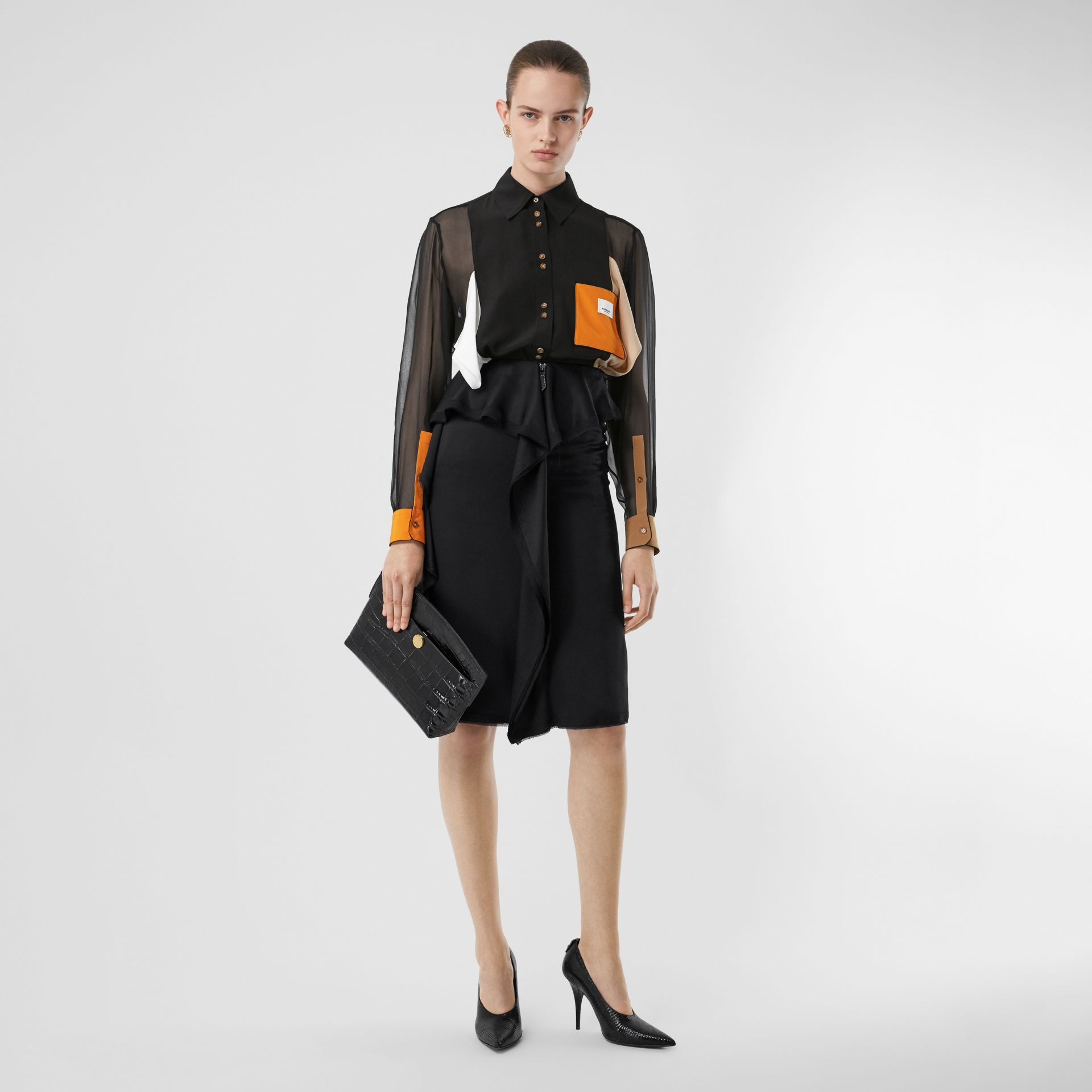 Colour Block Silk Shirt in Black - Women | Burberry United Kingdom - gallery image 5