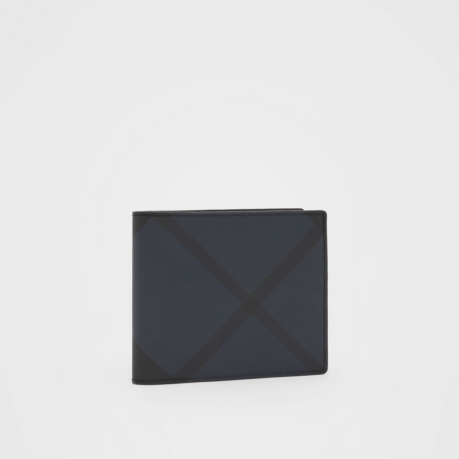 London Check and Leather International Bifold Wallet in Navy - Men | Burberry United Kingdom - gallery image 3