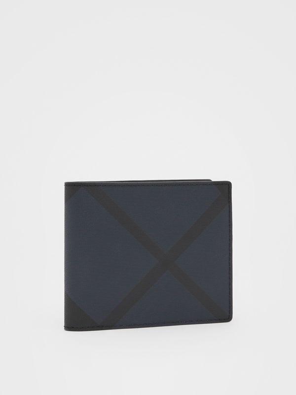London Check and Leather International Bifold Wallet in Navy - Men | Burberry United Kingdom - cell image 3