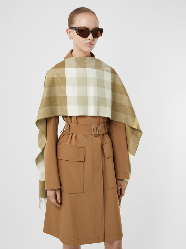 Check Cashmere Scarf in Deep Olive | Burberry United Kingdom - cell image 2