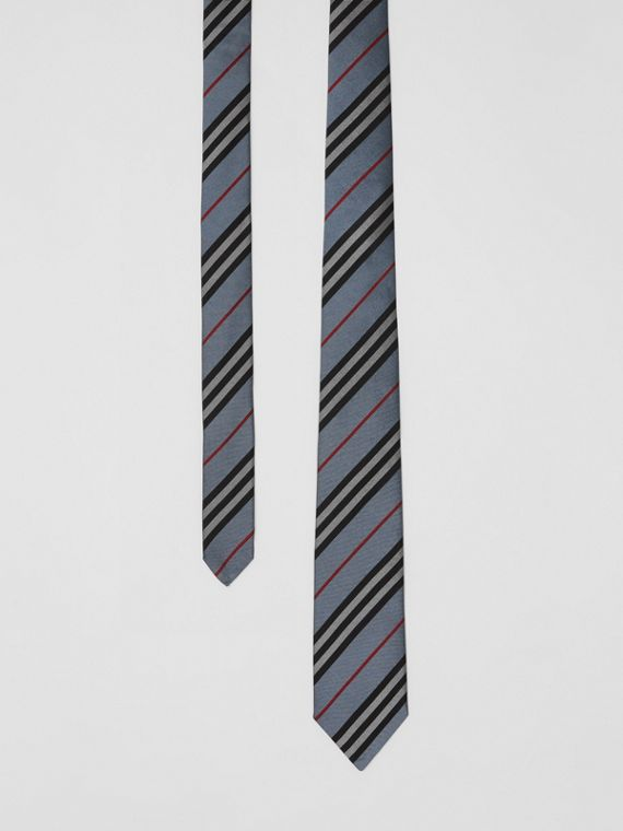 Classic Cut Icon Stripe Silk Tie in Pale Blue