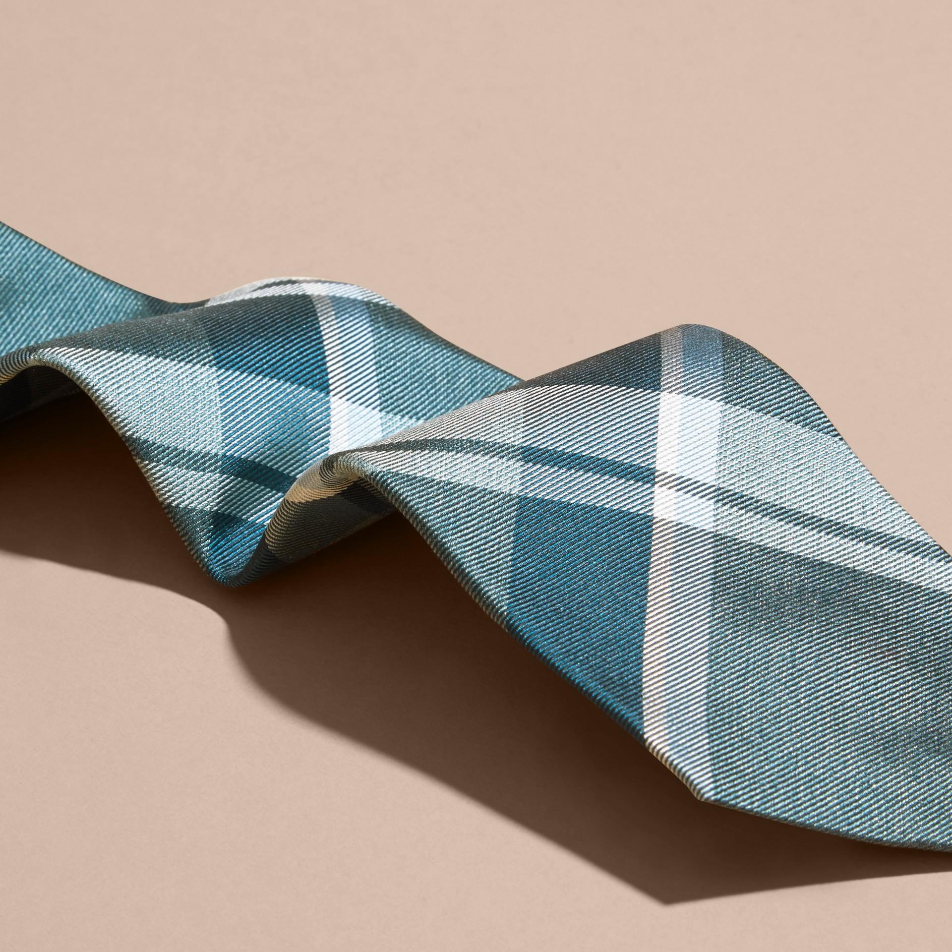 Pale celadon Modern Cut Check Jacquard Silk Tie Pale Celadon - gallery image 2