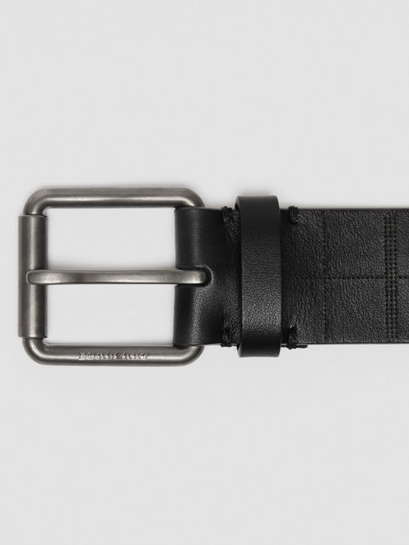 Perforated Check Leather Belt in Black - Men | Burberry - cell image 1