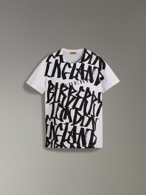 Graffiti Print T-shirt in White - Women | Burberry - cell image 3