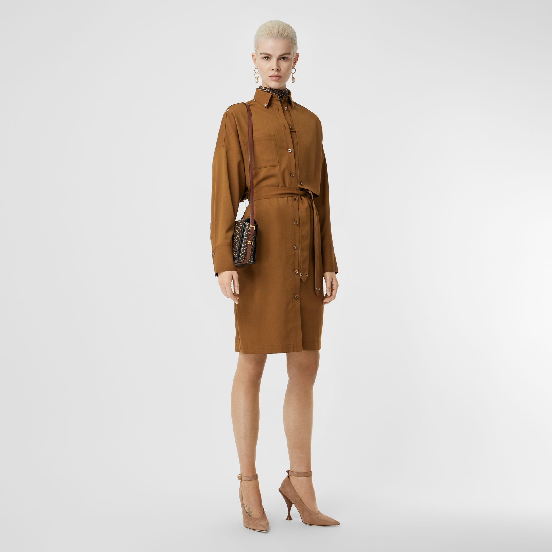 Wool Twill Blend Belted Shirt Dress in Maple - Women | Burberry United Kingdom - gallery image 0