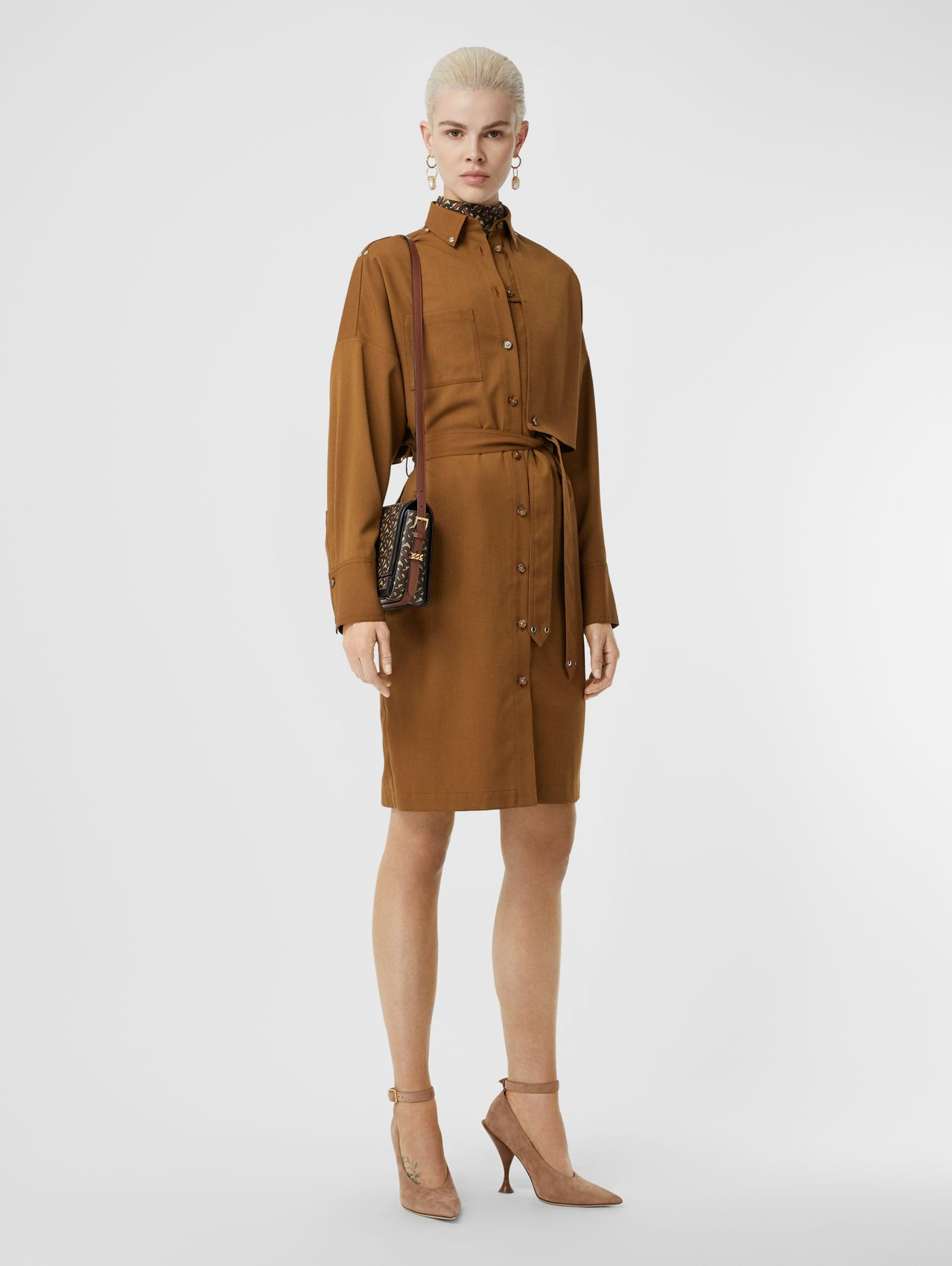 Wool Twill Blend Belted Shirt Dress in Maple