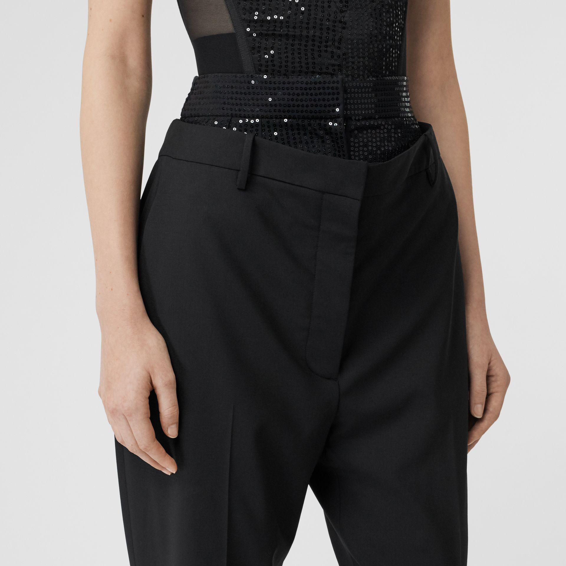 Sequinned Panel Double-waist Stretch Wool Trousers in Black - Women | Burberry - gallery image 1