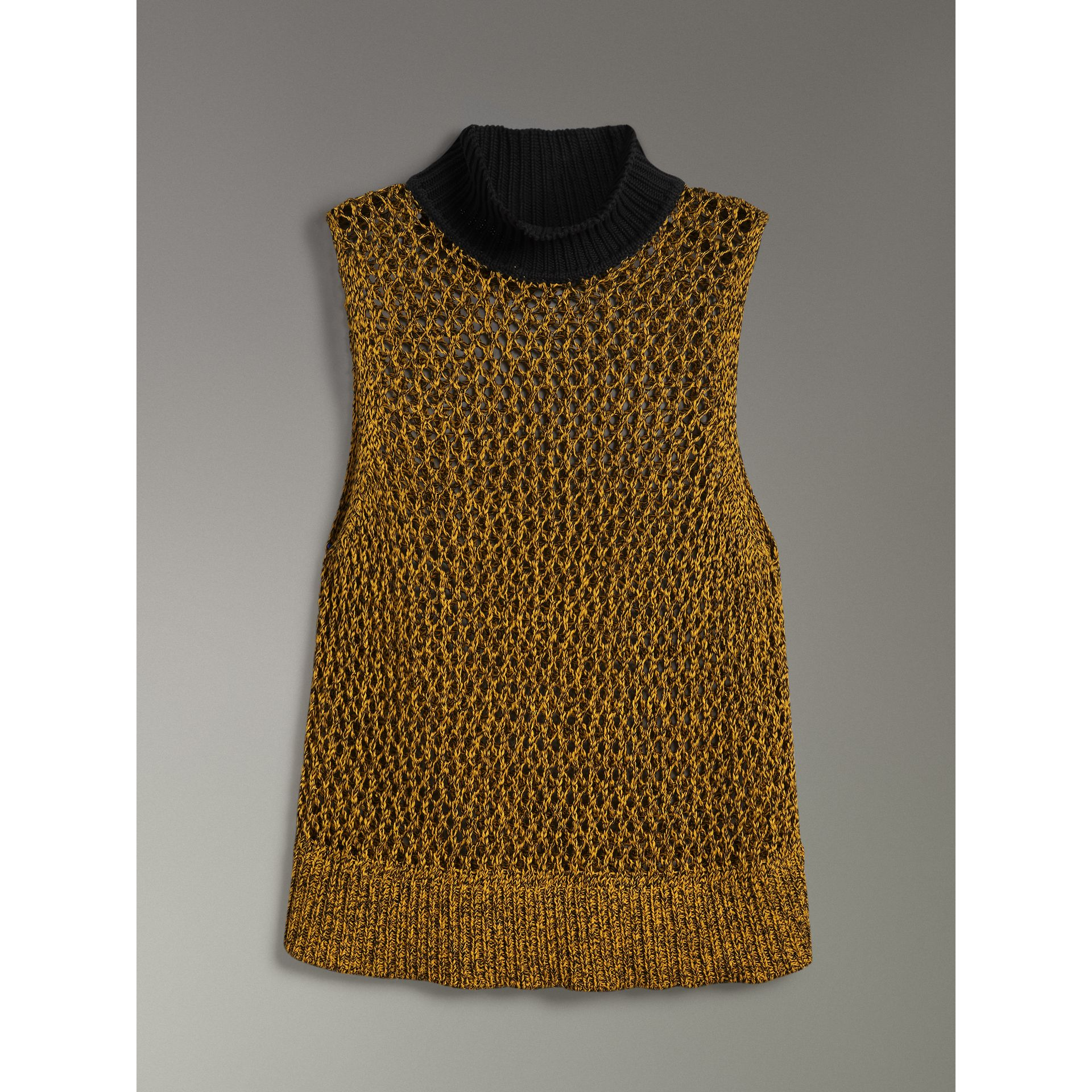 Sleeveless Mesh Knit Turtleneck Top in Vibrant Yellow - Women | Burberry - gallery image 3
