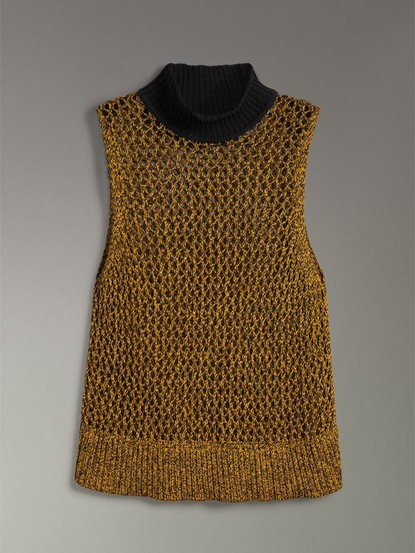Sleeveless Mesh Knit Turtleneck Top in Vibrant Yellow - Women | Burberry - cell image 3