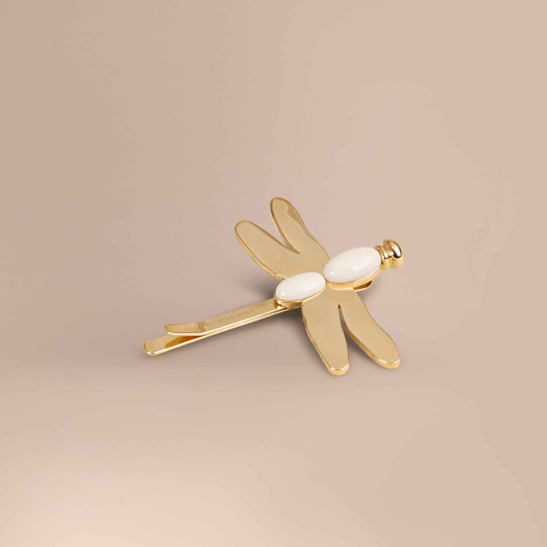 Light gold/off white Dragonfly Detail Hairslide - gallery image 1