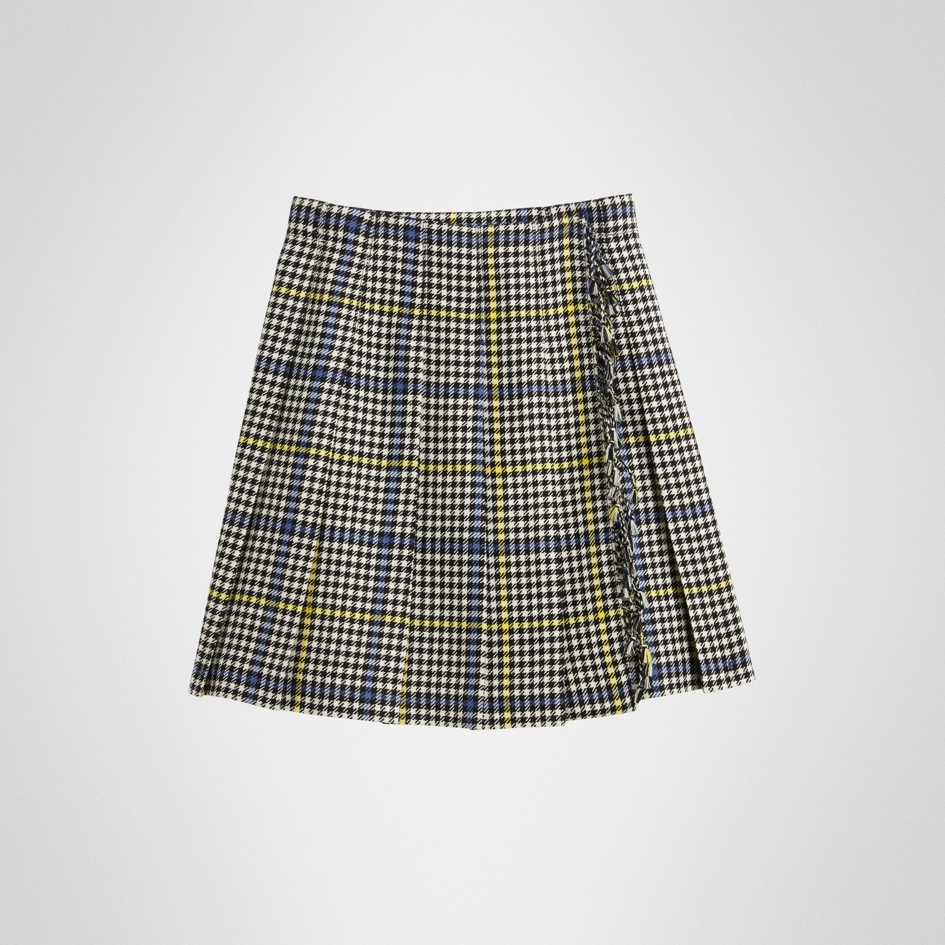 Fringe Detail Houndstooth Check Wool Kilt in Parchment | Burberry - gallery image 0