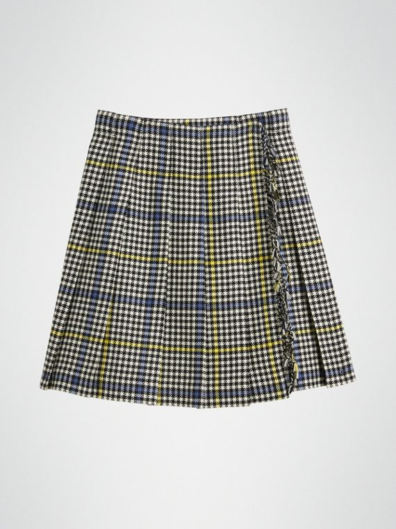 01f307509d76 Fringe Detail Houndstooth Check Wool Kilt in Parchment
