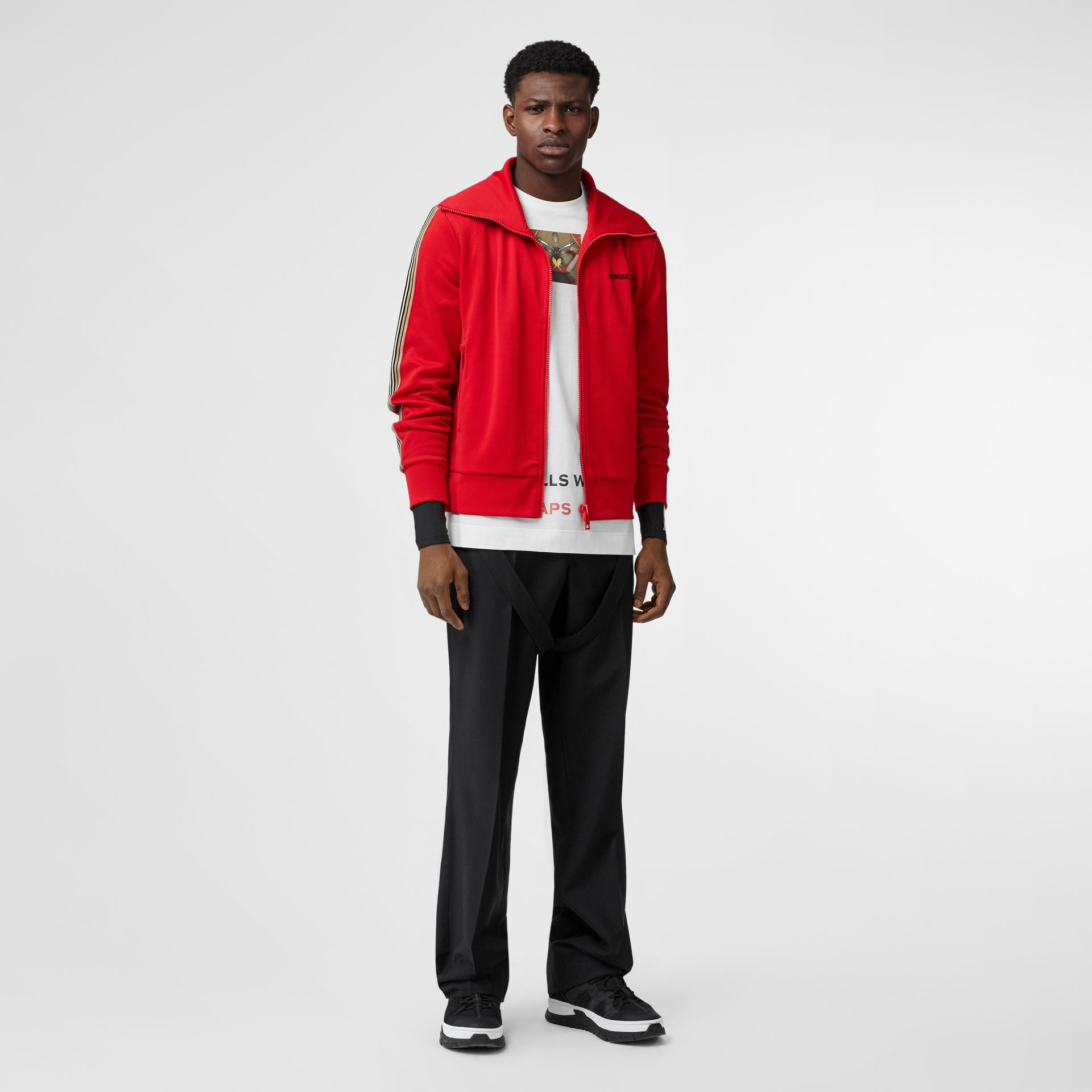 Icon Stripe Detail Funnel Neck Track Top in Bright Red - Men | Burberry - gallery image 0
