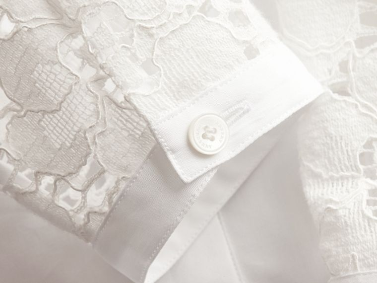 White Macramé Lace Detail Cotton Shirt - cell image 1