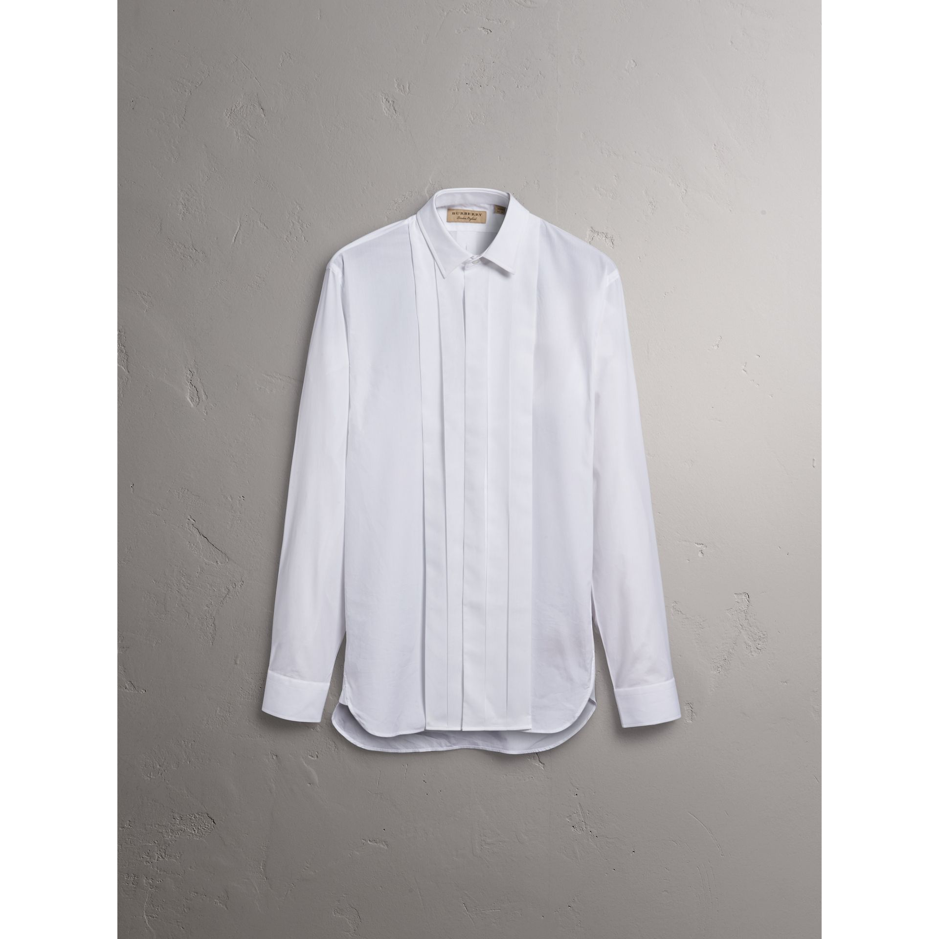 Modern Fit Cotton Poplin Dress Shirt in White - Men | Burberry - gallery image 4