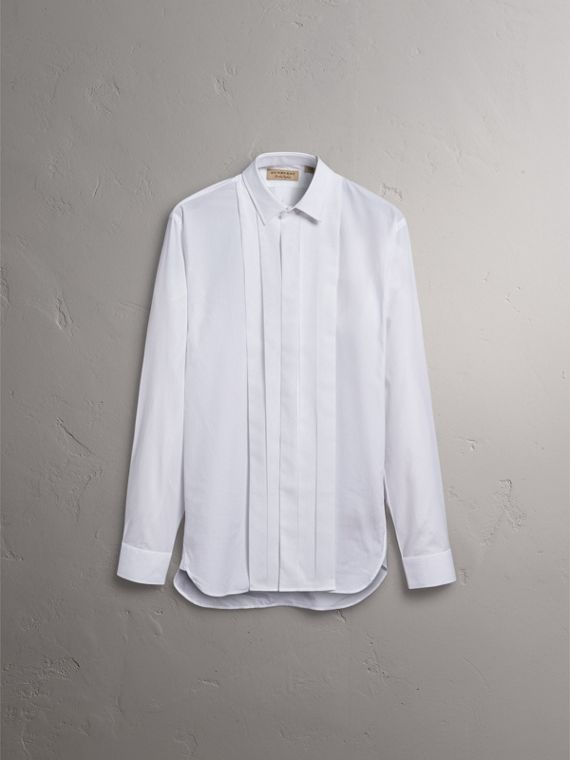 Modern Fit Cotton Poplin Dress Shirt in White - Men | Burberry - cell image 3