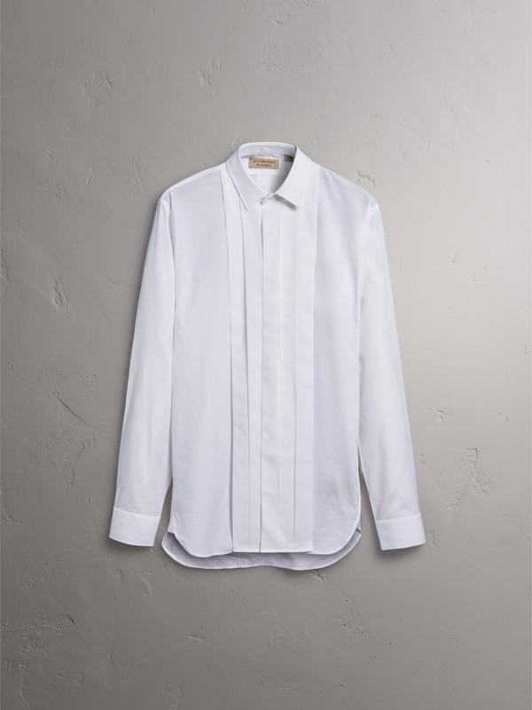 Modern Fit Cotton Poplin Dress Shirt in White - Men | Burberry United Kingdom - cell image 3